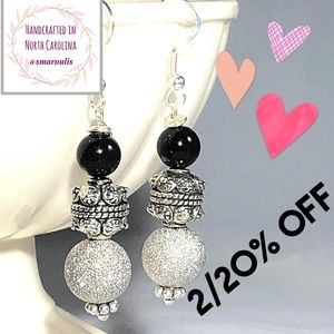 💋Sterling Silver Earrings Black Onyx Pewter Pave